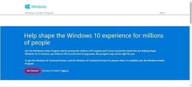 Nhấn vào Get Started để đăng ký tham gia chương trình Windows Insider