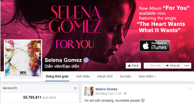 Số lượt Like trên trang của Selena Gomez đã giảm đi đáng kể