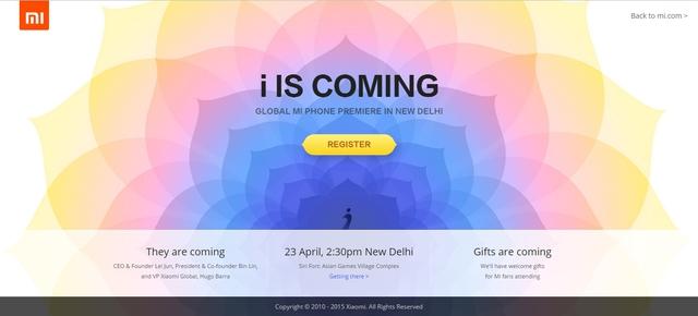 Trang đăng ký tham dự sự kiện của Xiaomi