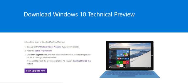 Chọn Start upgrade now để tải bản nâng cấp Windows 10 Technical Preview mới