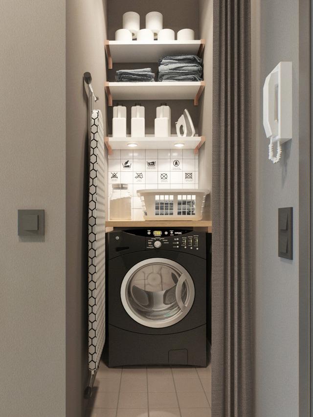 Phòng giặt đồ dù có diện tích khiêm tốn nhưng vẫn được sắp xếp hợp lý.