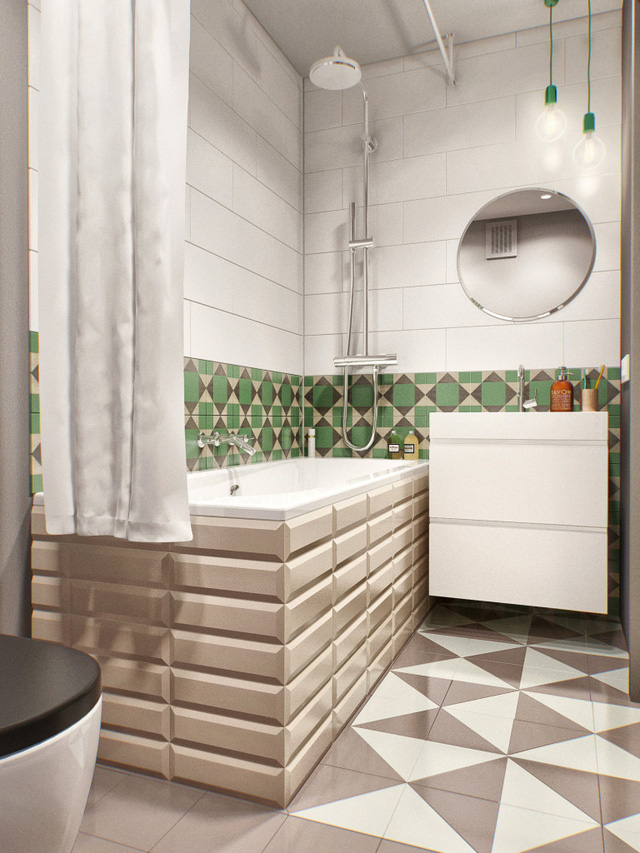 Phòng tắm cũng phần tường xanh - nâu - be làm điểm nhấn, với nền gạch nâu - trắng bên dưới.