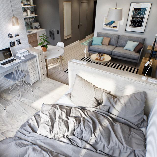 Giường ngủ được đặt ở trước cửa sổ để chủ nhân có thể đón ánh nắng bình minh.
