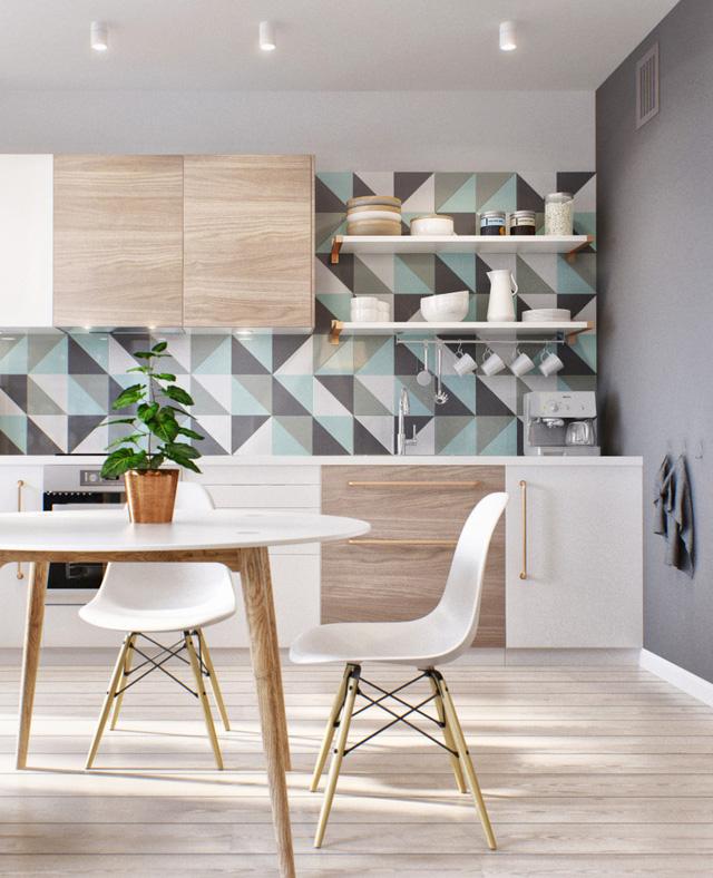 Phòng ăn và bếp có tường màu trắng - xanh - ghi làm điểm nhấn.