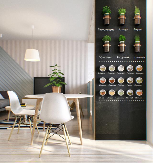 Chủ nhân thể hiện ý tưởng độc đáo trên bức tường cạnh bàn ăn.