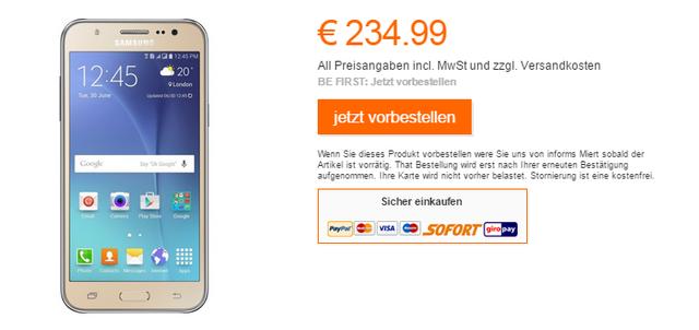 Samsung Galaxy J5 trên website bán hàng của Samsung tại Đức