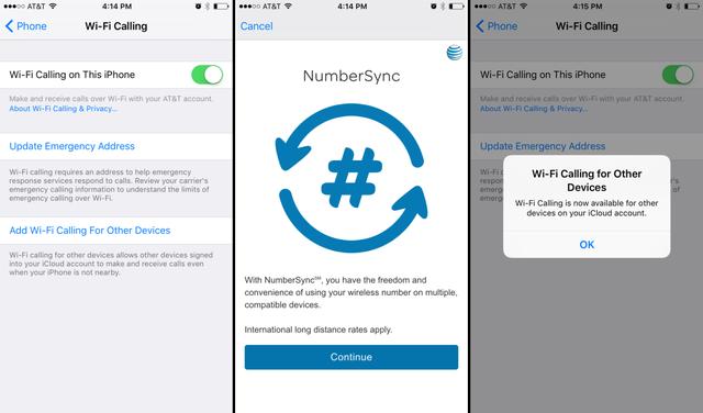 Dịch vụ NumberSync của nhà mạng AT&T cho phép người dùng sử dụng iPad để thực hiện cuộc gọi thông qua kết nối Wi-Fi