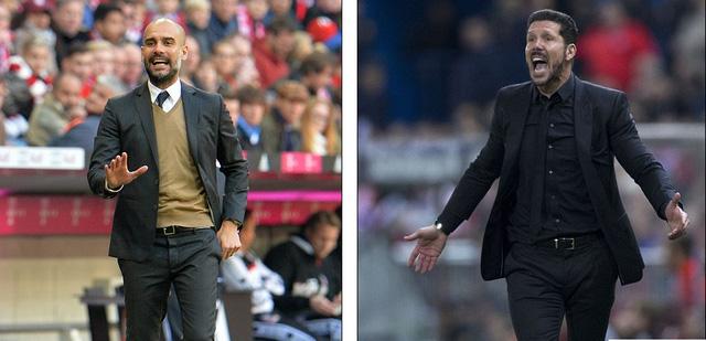 Hai HLV tài danh từng có thành tích xuất sắc ở La Liga là Guardiola (trái) và Simeone cũng nằm trong tầm ngắm.