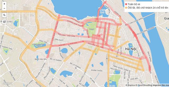 Các tuyến phố màu đỏ là cấm đường hoàn toàn