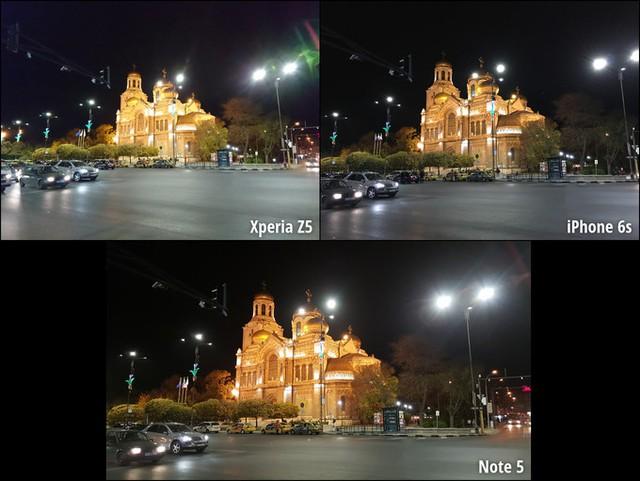 Thoáng qua, 3 bức ảnh chụp ban đêm khá ổn. Tuy nhiên, các chi tiết trong bức ảnh chụp bởi Xperia Z5 rất mờ nên cần tăng ISO lên khoảng 800 trong khi ảnh chụp từ iPhone 6s và Galaxy Note 5 nhìn rõ ràng hơn nhiều.