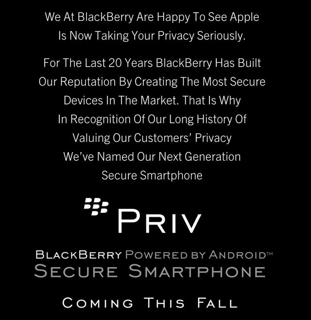BlackBerry giới thiệu thông tin về sản phẩm mới với mở đầu là lời khen dành cho Apple