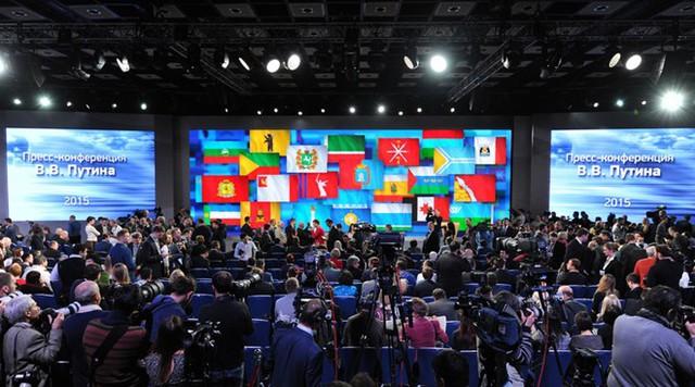 Quang cảnh cuộc họp báo tại Trung tâm Thương mại Thế giới ở Krasnaya Presnya. (Ảnh: Sputnik)
