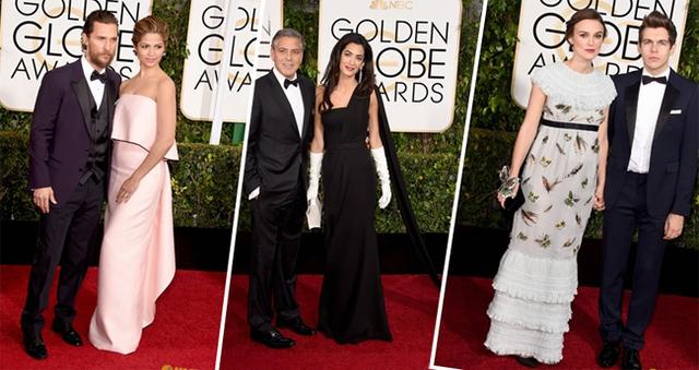Vợ chồng Matthew McConaughey, George Clooney và Keira Kinghtley trên thảm đỏ Qủa cầu vàng. (Ảnh: J2)