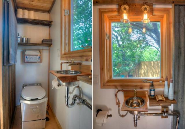 Nhà vệ sinh có diện tích khiêm tốn nhưng không khiến người dùng thấy bí bách.