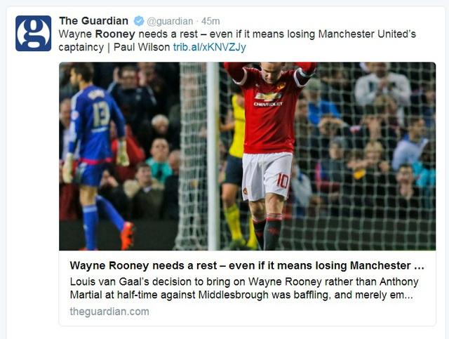 Tờ Guardian cũng chung nhận định, Rooney cần một thời gian ngôi ngoài cho dù điều đó có thể khiến anh mất băng thủ quân