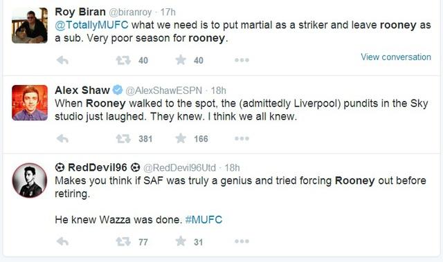 @biranroy: Điều mà đội bóng cần làm là để Martial đá tiền đạo thay Rooney. Một mùa giải quá tệ với Rooney.  Cây bút Alex Shaw của ESPN: Khi Rooney bước lên thực hiện quả 11m, các bình luận viên đều cười và biết trước chuyện gì sẽ xảy ra.  @RedDevil96Uytd: Sir Alex đúng là một thiên tài khi ông ấy muốn đẩy Rooney đi trước khi giải nghệ. Ông ấy biết Wazza đã hết thời rồi.