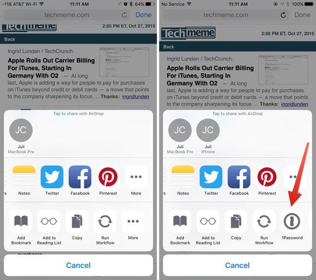 Trong ứng dụng Hipchat dành cho iOS, phiên bản iOS 9.1 (trái) không hỗ trợ tùy chọn mở rộng bên thứ ba trong khi phiên bản iOS 9.2 (phải) hỗ trợ phần mở rộng 1Password