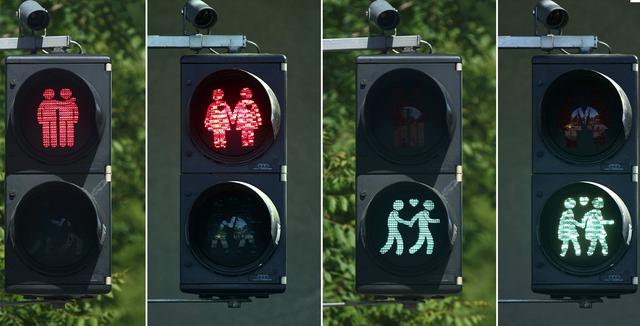 Đèn giao thông thân thiện với người đồng giới ở Vienna. Ảnh: Independent UK