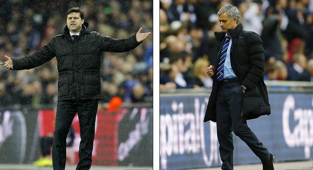 Trái với sự thất vọng của HLV Pochettino (trái) là vẻ đắc thắng của Jose Mourinho.