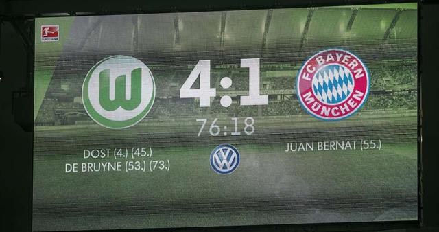 Màn trình diễn đáng quên nhất của Bayern Munich ở mùa giải này chính là trận thua ê chề 1-4 trước Wolfsburg sau kỳ nghỉ dài giữa mùa.