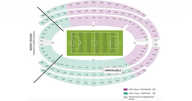 Màu xanh là khu vực cổ động dành cho các CĐV U23 Việt Nam, tuy nhiên, tất cả đã được mua hết.