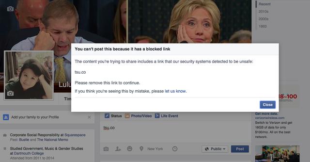 Facebook từng chặn mọi liên kết dẫn tới trang web Tsu.co
