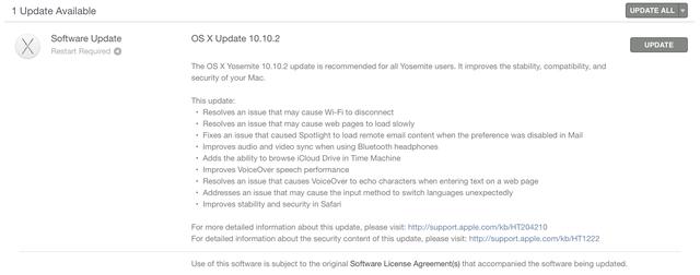 Thông tin chi tiết về bản cập nhật OS X Yosemite 10.10.2