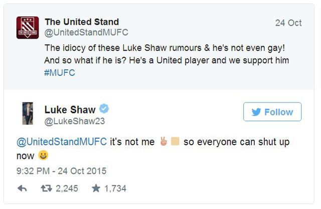 Luke Shaw phủ nhận tin đồn là gay trên trang Twitter cá nhân