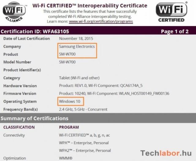 Thông tin về chiếc máy tính bảng mang mã SM-W700 của Samsung được xác nhận trên Wi-Fi Alliance
