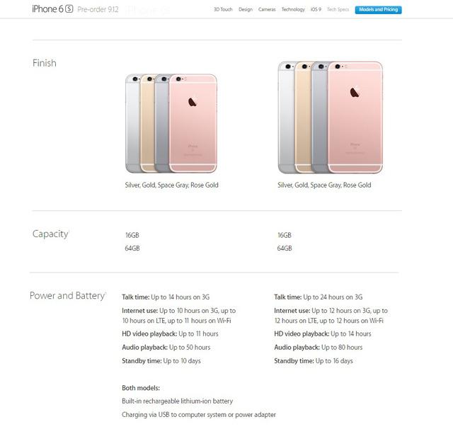 Thời lượng pin của bộ đôi iPhone 6S và iPhone 6S Plus