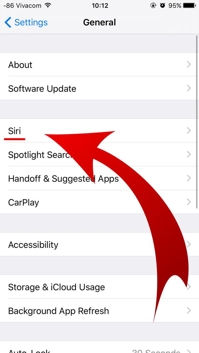 Nhấn vào trợ lý ảo Siri