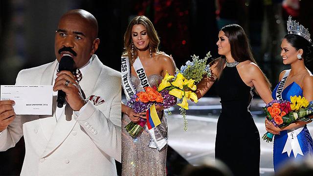 Giây phút tổn tương nhất tại đêm CK Hoa hậu Hoàn vũ 2015. (Ảnh: ABC)