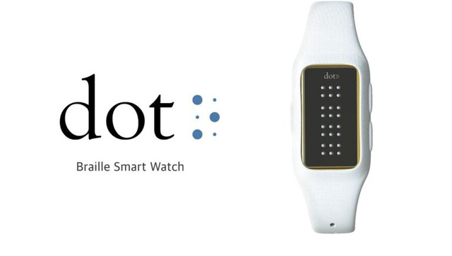 Chiếc đồng hồ thông minh của công ty Dot nổi bật với màn hình sử dụng chữ nổi
