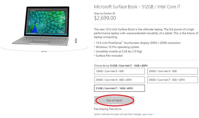 Phiên bản cấu hình cao nhất của Surface Book đã cháy hàng