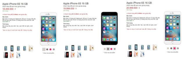 Giá bán của các phiên bản iPhone 6S hiện tại trên hệ thống CellphoneS