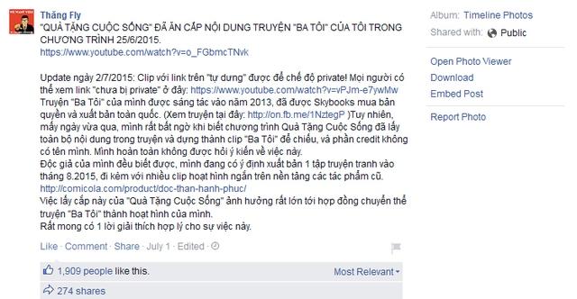 Bài viết được chủ nhân Facebook Thăng Fly đăng tải ngày 1/7.