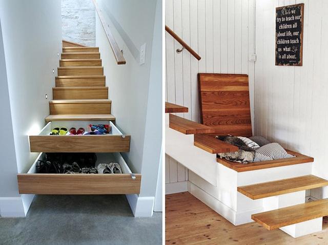 Sáng tạo biến những bậc cầu thang thành những ngăn kéo đựng đồ.