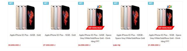 Giá bán iPhone 6S Plus trên một trang bán hàng (Nguồn: Internet)