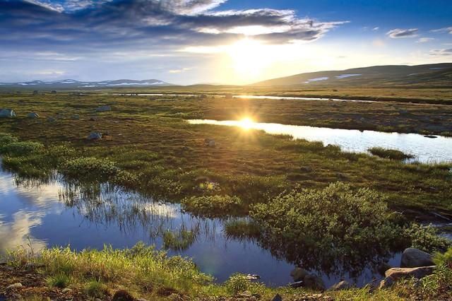 Cảnh chiều tà rực rỡ ở vùng Hardangervidda.