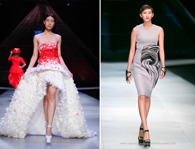 2 mẫu thiết kế nổi bật tại Vietnam International Fashion Week 2014 của Hoàng Minh Hà (trái) và Lý Giám Tiền (phải)
