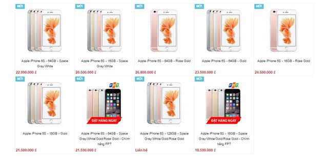 Giá bán của iPhone 6S trên một trang bán hàng (Nguồn: Internet)