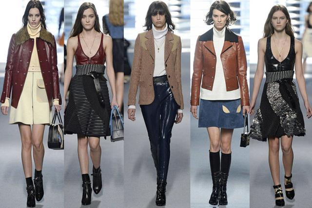 BST của nhà thiết kế Nicolas Ghesquiere cho hãng Louis Vuitton mang tông màu trầm, với cảm hứng từ những bộ trang phục của thập niên 60.
