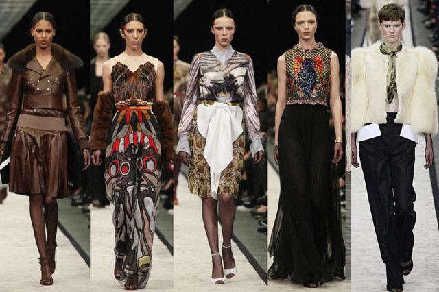 Trong khi đó, BST của Riccardo Tisci hãng Givenchy được thiết kế với cảm hứng từ thiên nhiên hoang dã, gây dấu ấn với trang phục mang màu sắc và họa tiết hình thú.