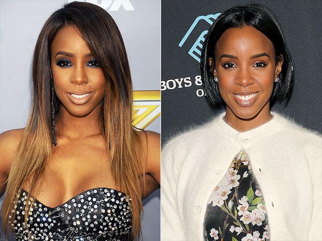 """Kelly Rowland bớt """"già nua"""" hơn trong mái tóc ngắn gọn ghẽ, được nhuộm đen. Cô xuất hiện trong kiểu đầu mới kể từ Tuần lễ Thời trang New York cuối năm 2014."""