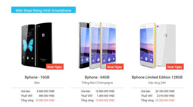 Mức giá bao gồm VAT của BPhone