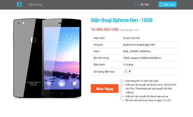 Phiên bản BPhone 16GB chỉ có duy nhất màu đen