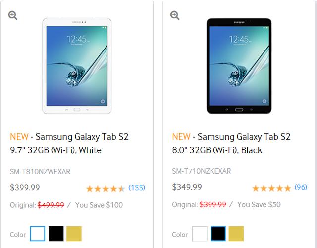Galaxy Tab S2 8 inch được giảm 50 USD trong khi Galaxy Tab S2 9,7 inch được giảm 100 USD so với giá gốc