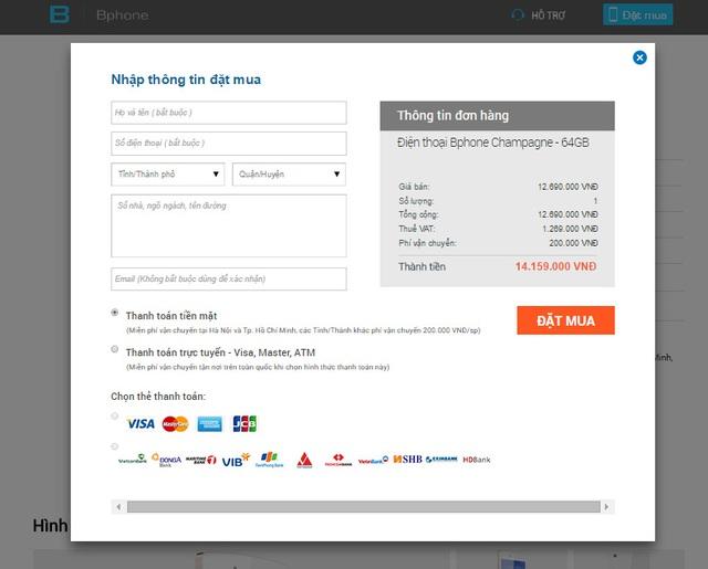 Mức giá khi đặt mua BPhone 64GB với hình thức thanh toán bằng tiền mặt