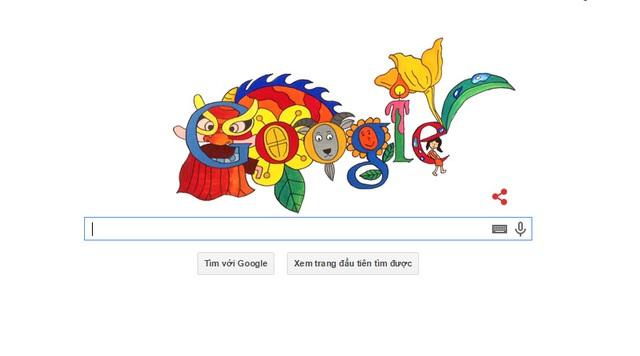 Tác phẩm của bé Lê Hiếu hiện diện trên trang chủ của Google