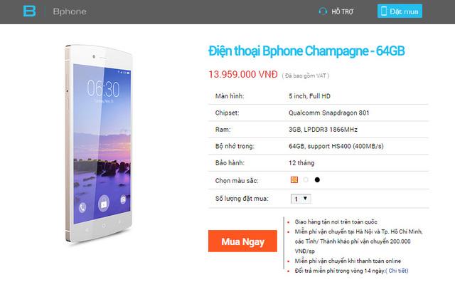 BPhone 64GB phiên bản màu Champagne